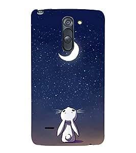 FUSON Rabbit Moon Background 3D Hard Polycarbonate Designer Back Case Cover for LG G3 Stylus :: LG G3 Stylus D690N :: LG G3 Stylus D690