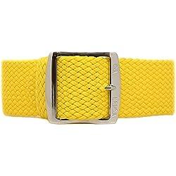 DaLuca Braided Nylon Perlon Watch Strap - Yellow (Polished Buckle) : 22mm