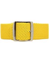 Correa de reloj de Nylon trenzado DaLuca perlón - amarillo (pulido de la hebilla): 18 mm