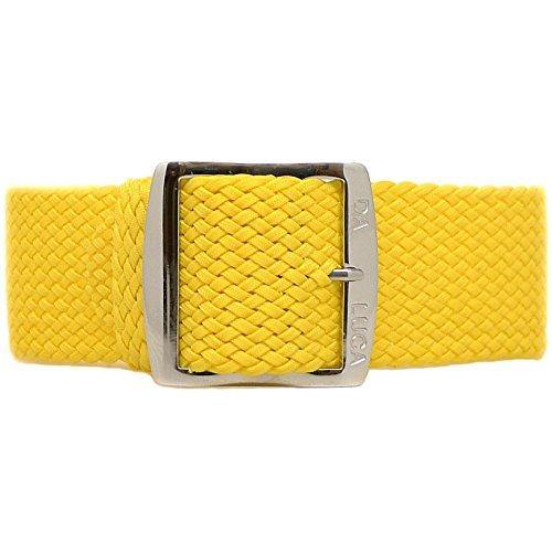 Band Rolex-uhr (DaLuca Uhrenarmband, geflochtenes Nylon-Perlon, polierte Schnalle, 20 mm, gelb)