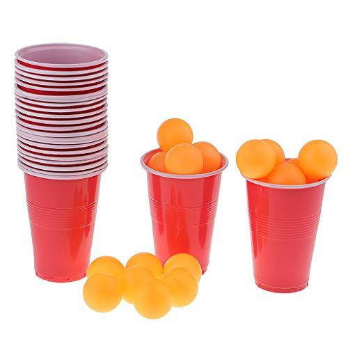 Hellery 1 Juego Tazas Bolas Ping-Pong Club Juego Beber