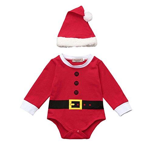 psuit Kleidung Longra Baby Weihnachten Santa Mädchen Jungen Outfits Kleidung mit Strampler + Hut Set Unisex Baby Overall Langarm Spielanzug (0 -24 Monate) (70CM 6Monate, Red) (Red Santa Hüte)
