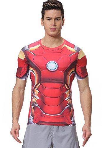 Cody Lundin® Herren Kompressions T-Shirt Fitnesstraining Helden Charakter jogging Kurzarm -
