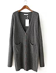 Ladies Nueva abrigos color sólido Jacquard largo Knit Cardigan Sweater