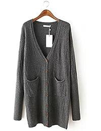 Ladies Nueva abrigos color sólido Jacquard largo Knit Cardigan Sweater