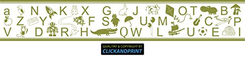 CLICKANDPRINT Aufkleber » Bordüre: Alphabet mit Tieren, 320x53,4cm, Olive • Wandtattoo / Wandaufkleber / Wandsticker / Wanddeko / Vinyl - Alphabet Olive