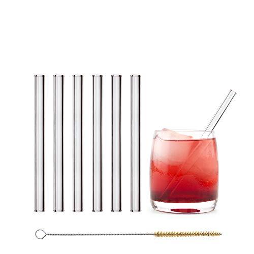 HALM Glas Strohhalme Wiederverwendbar Trinkhalm - 6 Stück kurz gerade 15 cm + plastikfreie Reinigungsbürste - Spülmaschinenfest - Nachhaltig - Glastrinkhalme Glasstrohhalme für Tumbler Cocktailgläser