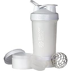 BlenderBottle ProStak Shaker | Protein Shaker| Fitness Shaker | BPA frei | mit BlenderBall | inkl. 2 Containern 150ml & 100ml +1 Pillenfach | 650ml - Weiß