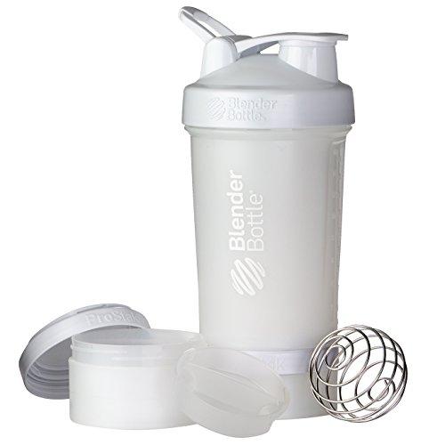 BlenderBottle ProStak Protein Shaker mit BlenderBall mit 2 Container 150 ml und 100 ml, 1 Pillenfach, optimal für Eiweiß, Diät und Fitness Shakes, skaliert bis 450ml, weiß (650ml)