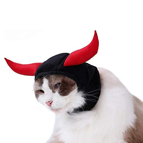 n Cat Bull Devil Haustier Kopfbedeckung Teddy Puppy Kätzchen Horn Hut Kopftuch ()