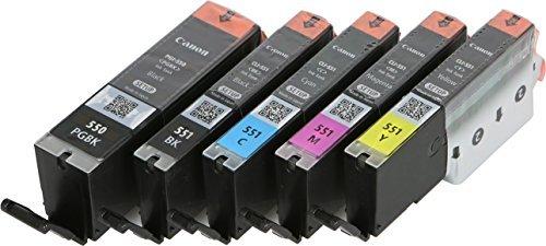 5x Original Setp-UP Tintenpatrone für Canon PGI550 / CLI551 für Canon Pixma MX 925 MX 725 - BK, PBk, Cy, Ma, Ye -