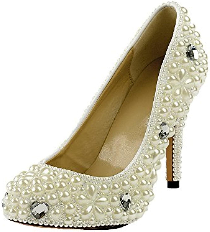 Lacitena Moda de Mujer con Zapatos Redondos de Perlas -