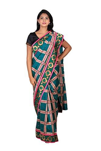 Angarkhu Collection Women's Cotton Silk Saree (Multi-Coloured)