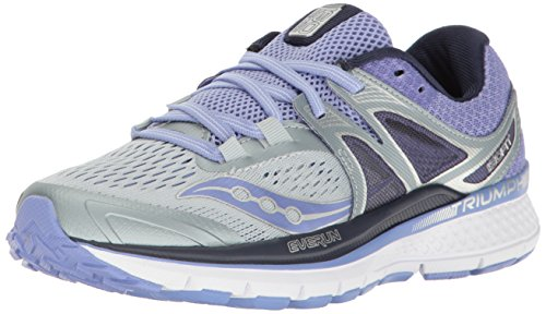 Saucony Women's Triumph Iso 3 Running Shoes, Multicolor (Grey/purple), 7 UK
