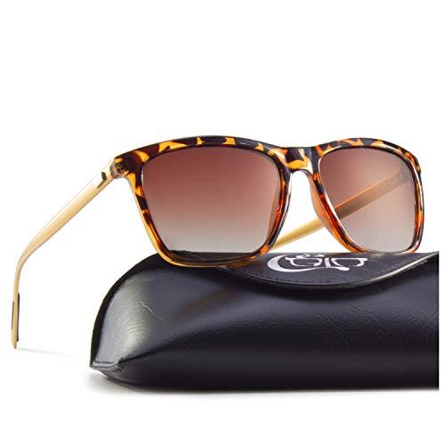 CGID Eckige Retro Sport Designer Klassische Sonnenbrille für Männer und Frauen Polarisierte Sonnenbrille Brille Al-Mg Metall Bügel Ultra Leicht 100% UV400 Schutz Schildkrötenrahmen Braune Linse MJ33
