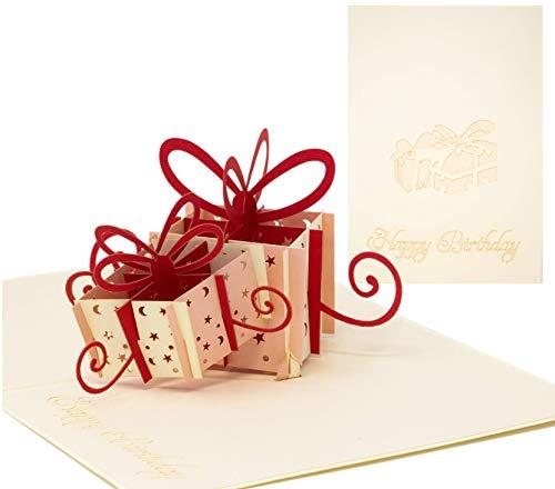 """Pop Up Geburtstagskarte in 3D Glückwunschkarte mit\""""Happy Birthday\"""" Aufschrift Inkl. Umschlag Grußkarte Geschenkkarte (Rot)"""