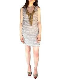 Damenkleid mit Fransen und Kette Clubwear Party Frestlich Kleider