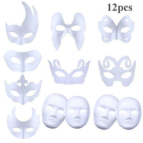 ZOYLINK DIY Weiße Maske Handgemalte Masken Halloween Fasching Karneval Party Kostüm Cosplay Dekoration Kinder Frauen Männer