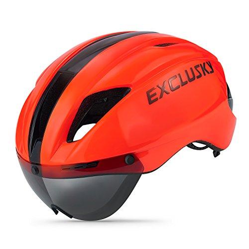 Exclusky Casco da Bici Ciclismo Adulto per Bicicletta Caschi 57-61cm con Occhiali Protezione Occhiali (Arancia)
