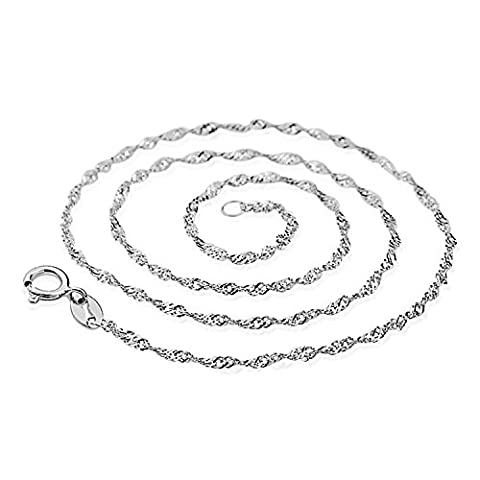 AmyRT Jewelry 0.8mm White Gold Plated 925 Silver Singapore Chain Necklaces for Womens & girls 16