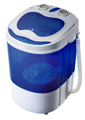 Hyundai HY-301 Mini Waschmaschine mit Schleuder Waschautomat Camping Toploader bis 3KG (Blau/ Weiss)