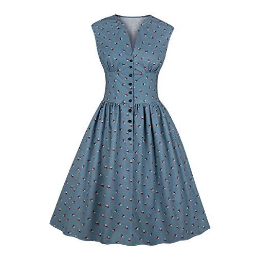 Wellwits Damen Teekleid mit geteiltem Ausschnitt, Blumenknöpfe, 1940er Jahre, Vintage-Stil - blau - - 40er Jahre Kleid Kostüm