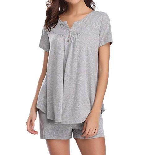 BHYDRY Womens Button Short Sleeve Nachtwäsche Set Pyjama Sets Bambus Tank und Shorts Set(M,Grau)