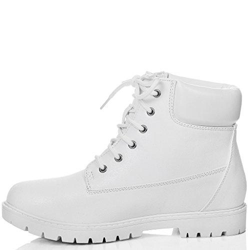 SPYLOVEBUY MORGAN Femmes Lacet Plates Bottines Chaussures Blanc - Similicuir
