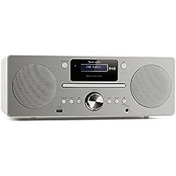 Auna Harvard • système Micro • chaîne stéréo • Dab/Dab+ et FM • 80 Stations programmables • RDS • Fonction réveil • Bluetooth 3.0 • Lecteur CD • AUX • Port USB pour Recharge • télécomande • Blanche