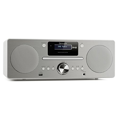 auna Harvard • Digitalradio • Micro-Anlage • DAB / DAB+ / UKW-Tuner • CD-Player • USB-Charger • Bluetooth • AUX • LCD-Display • 80 Senderspeicherplätze • Wecker • Sleep-Timer • Fernbedienung • weiß
