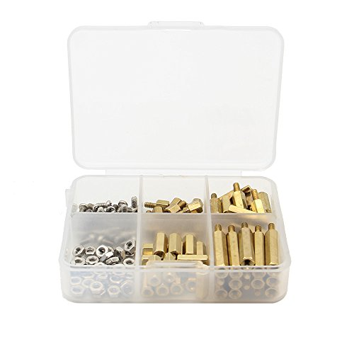 Geekworm Raspberry Pi Installation Tool 124 Pcs/Lot M2.5 Series Hex Brass Spacer/Standoff + Nuts + Screws w/Storage Case Raspberry Pi 3 Model B+(Plus) / 3B / Zero W Accessories Kit