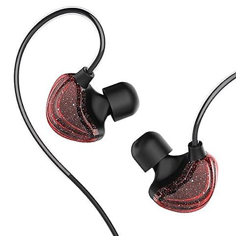 UiiSii CM5 Galaxy Ohrhörer Dynamic Driver Koaxial In Ear Sport Kopfhörer Ergonomische mit Mic (Sedna Rot)