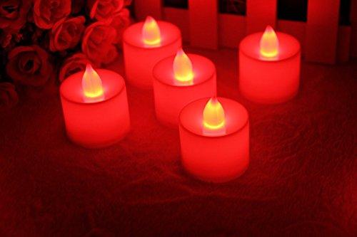 MuLucky 24pcs LED Tealight con pilas de la luz sin llama parpadeo del LED Tealight del té Velas de luz para la decoración de la boda de la fiesta de Navidad de cumpleaños (Rojo)
