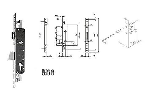 Iseo 783202252Serrure glisser entrée 25mm frontale acier 22mm fermeture triple serramenti métalliques antivol cylindre profil européen refoulement 24mm Rouleau
