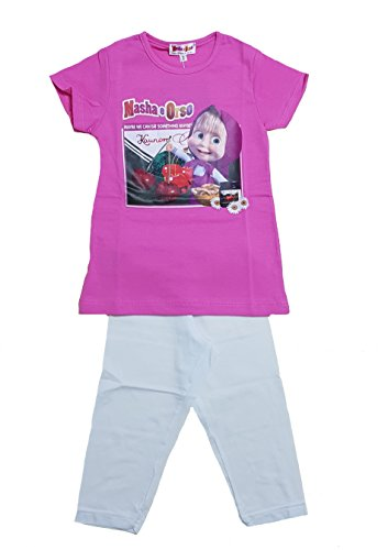 Completo bambina masha e orso t-shirt e leggings ps 21268 -5a fucsia
