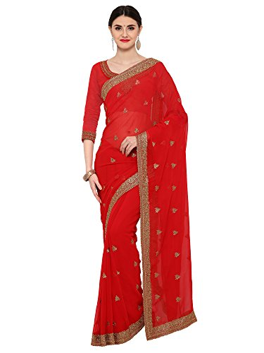 Paroma Art Women's Georgette Saree With Blouse Piece (Sarees For Women's Party...