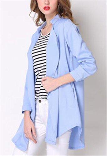 Kerlana Jacket Donna Collare Del Basamento Autunno Invernale Giacca Lungo Cappotto Puro Colore Giacche Moda Cappotti Eleganti Blue
