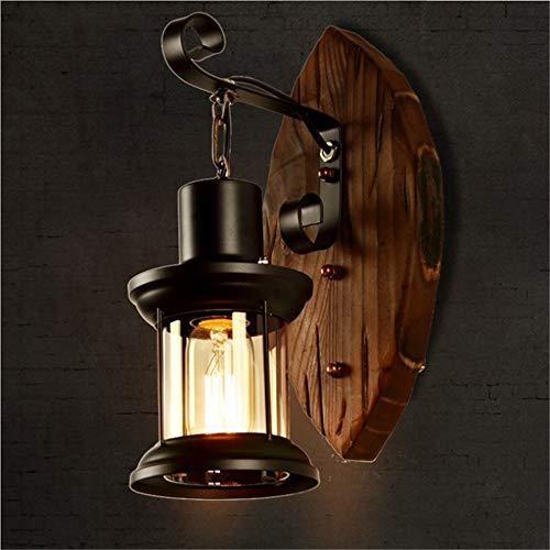 Sumferkyh-lt Retro kreative led Glas Wandleuchte Holz Blatt modellierung Klassische Wandleuchte e27 Stil ohne lichtquelle für Haus, Bar, Restaurants, Coffee Shop (Farbe : Retro, Größe : Free Size) -