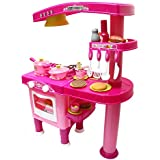 Wembley Toys Real Action Kitchen Play Set With Light & Sound Cooking Kitchen Set Play Toy (Pink)