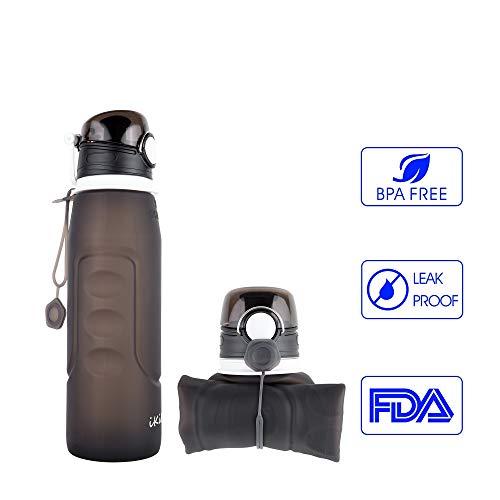 IKiKin Faltbarer Trinkbecher, Reisebecher aus Silikon, Tragbar, Zusammenlegbar, Platzsparend, 1L BPA Frei, Schwarz