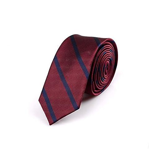 Z-P Mens Luxury Elegant Necktie Red Stripes Skinny Microfiber Tie