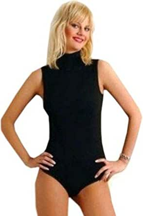 NEW WOMEN'S TURTLENECK SLEEVELESS BLACK BODYSUITS- ALL SIZES (Small (UK 8/10))