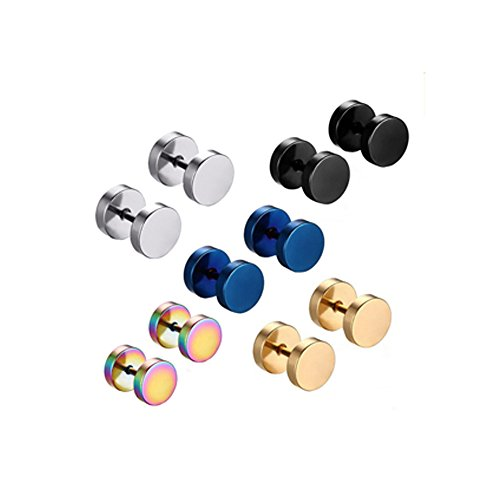 Contever® 5 Pair 8mm Stainless Steel Colorful Round Screw Stud Earrings Men Women