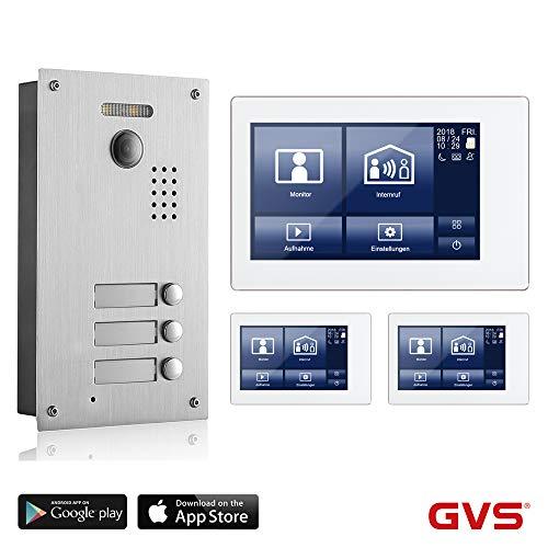 GVS 2-Draht/IP Video Türsprechanlage, 3 Familienhaus Set, Handy-App, 3x7 Monitor mit Touchscreen, Tür-Öffner-Fkt, Foto-/Video-Speicher, Unterputz Türstation, 2 MP 170° Kamera, AVS7038-8068-33