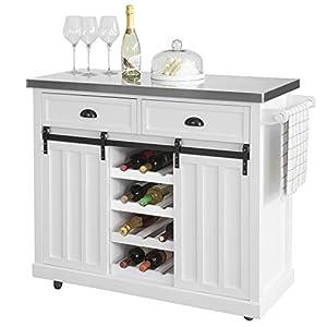 SoBuy FKW94-W Design Küchenwagen mit Flaschenablage Küchenschrank mit 2 Schiebetüren und 2 Schubladen Kücheninsel mit Edelstahlplatte Sideboard Weiß BHT ca.: 116x95x46cm