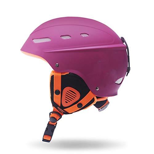 Boayiter Halten Sie Warm Skihelm, Dämpfung Erwachsene Kind Sport Sicherheit Leichtgewicht Schnee Skaten Schutzhelm Tragbare Skibrille -lila L