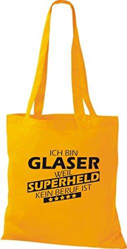 kein Ich Beruf weil Superheld Shirtstown Glaser bin goldgelb Stoffbeutel ist qWW5YT