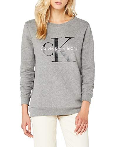 Calvin Klein Jeans Damen CREW NECK HWK TRUE ICON Sweatshirt, Grau (Light Grey Heather 038), Medium -
