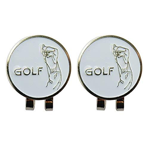 BESPORTBLE 2pcs Golf Ball Marker mit magnetischen Golf Hut Clip Outdoor-Legierung Zubehör - Marker Mit Ball Golf-hut