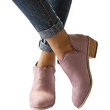 Botines Mujer Invierno Bloque Tacones Botas de Tobillo para Dama Moda Casual Elegante Zapatos Punta Redonda